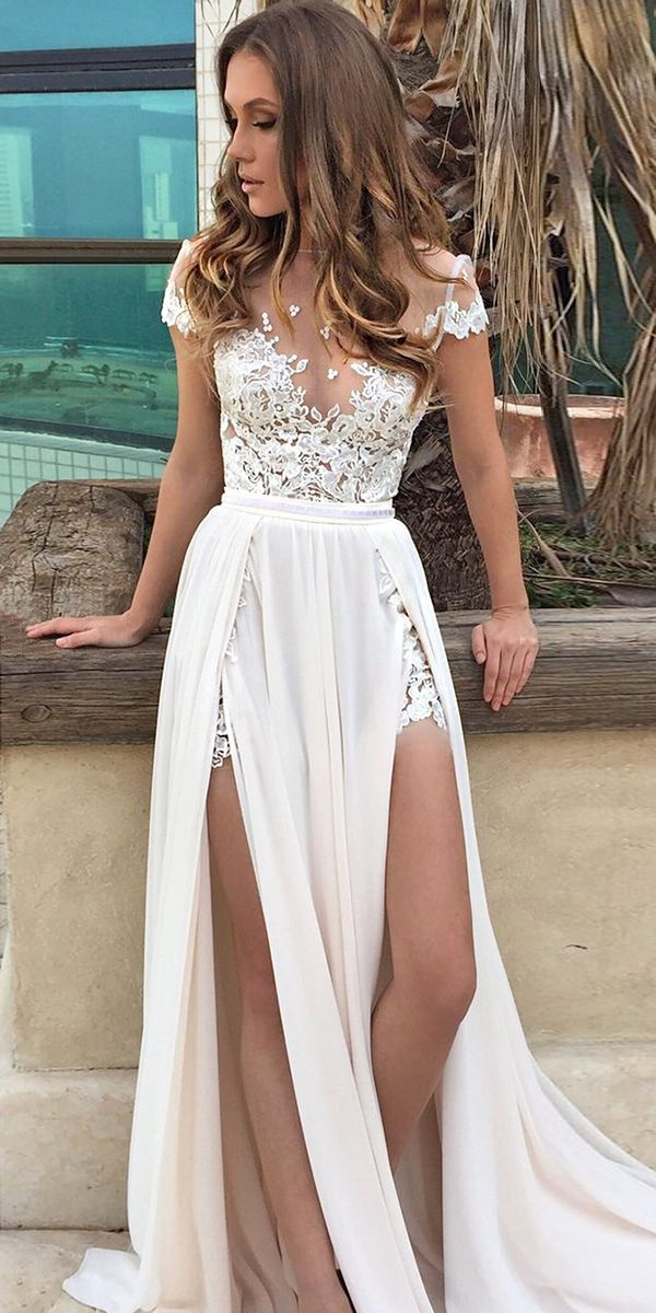 wedding dresses short chiffon wedding dress and lace top wedding