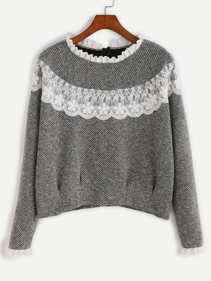 13$  Buy now - http://diaij.justgood.pw/go.php?t=11220 - Grey Contrast Lace Ruffle Trim Sweatshirt