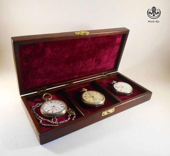 Wooden Three Pocket Watch boxAntıque Style by SpecialWoodwork