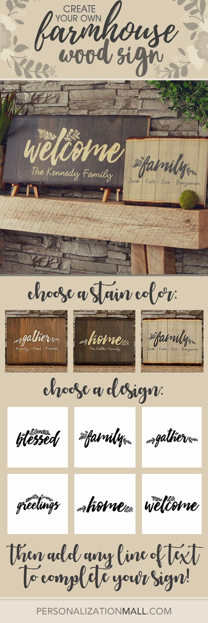 LOVE this farmhouse style wood sign! It's gorgeous and easy to make! You can personalize it in your choice of stain color, design title and then you just add your own message and you're done!