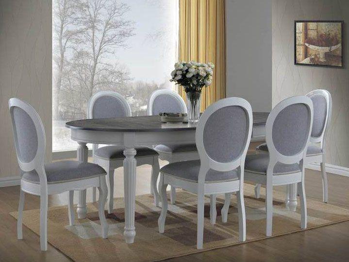 Stół Valencia to piękny klasyczny model wykonany z drewna, MDF oraz forniru.  Piękny klasyczny stelaż stołu wykonano z naturalnego drewna lakierowanego w kolorze białym, a rozkładany blat to połączenie wysokogatunkowego MDF oraz forniru. Blat posiada szary kolor, który idealnie współgra z bielą nóg tworząc wyjątkowy klimat w pomieszczeniu.