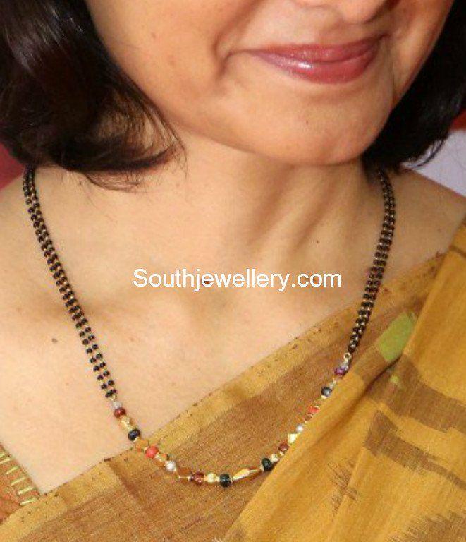 Amala Akkineni in a simple black beads mangalsutra chain photo