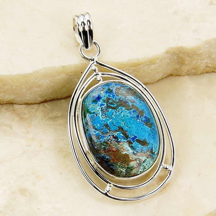 'Caribbean Queen' Large Ocean Chrysocolla & 925 Sterling Silver Pendant
