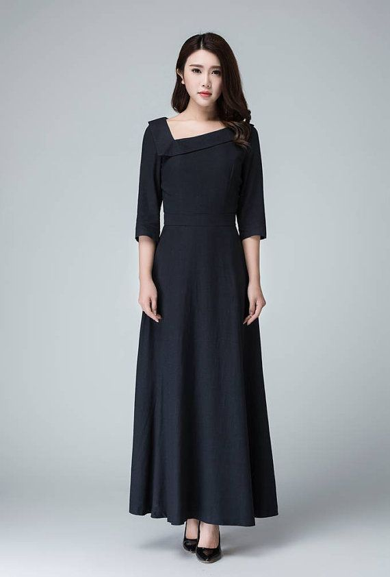 prom dress maxi dressLinen dress Black dress party dress