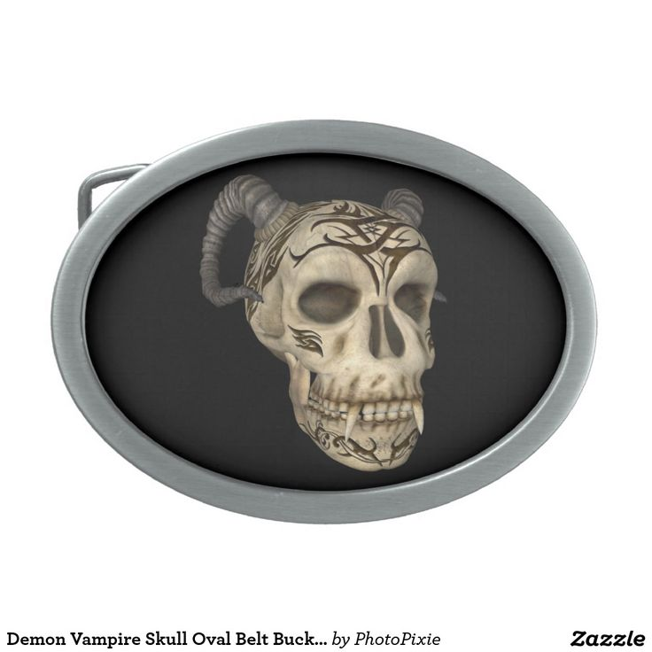 Demon Vampire Skull Oval Belt Buckle