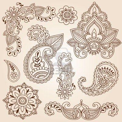 Henna Mehndi Doodles Resumen elementos de diseño floral Paisley, Mandala, y Rincón de ilustración en la página de diseño vectorial Foto de archivo