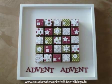 Adventskalender aus Schachteln, Stampin up, Adventskalender im Rahmen,