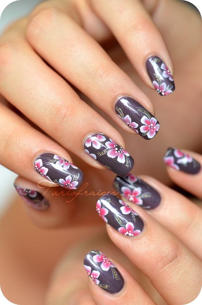 nail art one stroke fleur yukata nails art pinterest manucure ongles et manucure pedicure. Black Bedroom Furniture Sets. Home Design Ideas