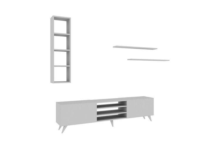 Σύνθεση σαλονιού Lea χρώμα λευκό 180x31x45