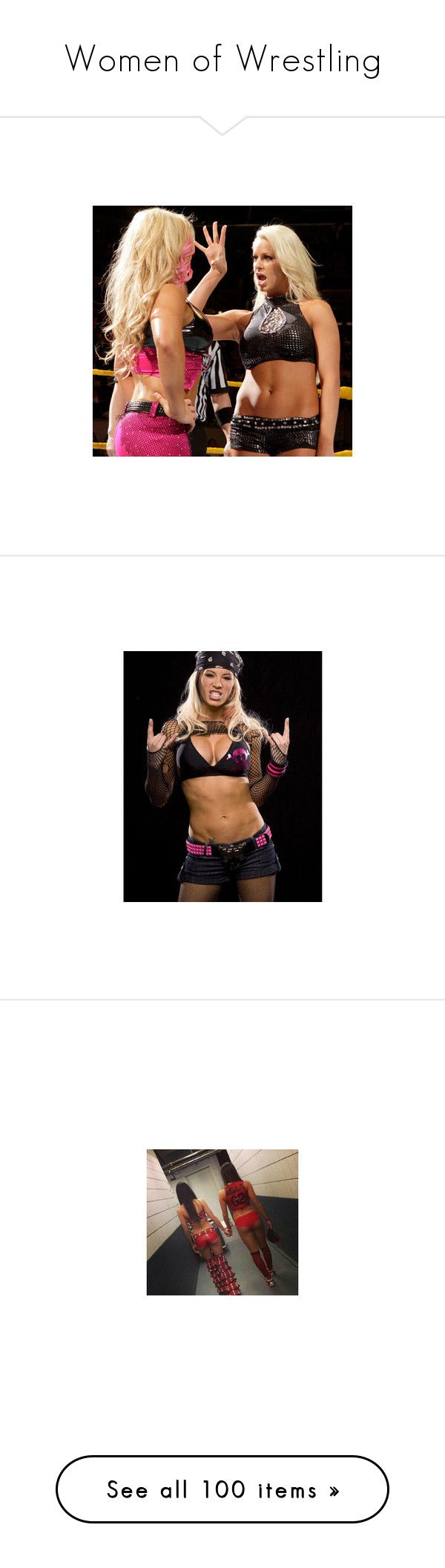 """""""Women of Wrestling"""" by thespaceduckofspaceghost ❤ liked on Polyvore featuring wwe, maryse, attires, ashley massaro, diva outfit, tops, the bella twins, eva marie, hair and paige"""