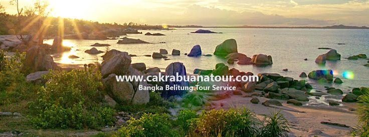 Sunset di objek wisata Pantai Teluk Uber - Bangka propinsi bangka belitung www.cakrabuanatour.com