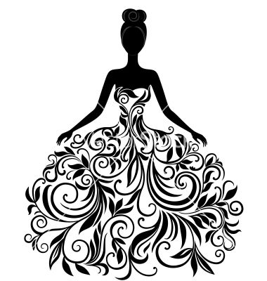 Silhouette of young woman in dress vector: