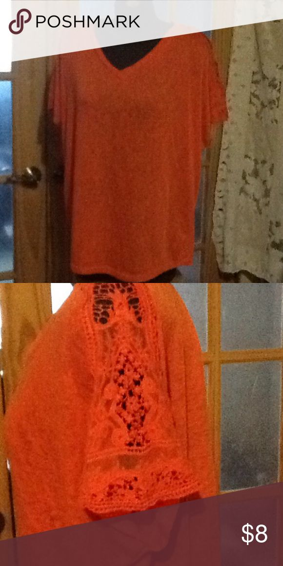 Dub women top Very gently worn orange short sleeve top. Sleeves are Lacey and short. 62% rayon, 38% polyester. Hand wash in. Old water, hang to dry. db woman Tops Blouses