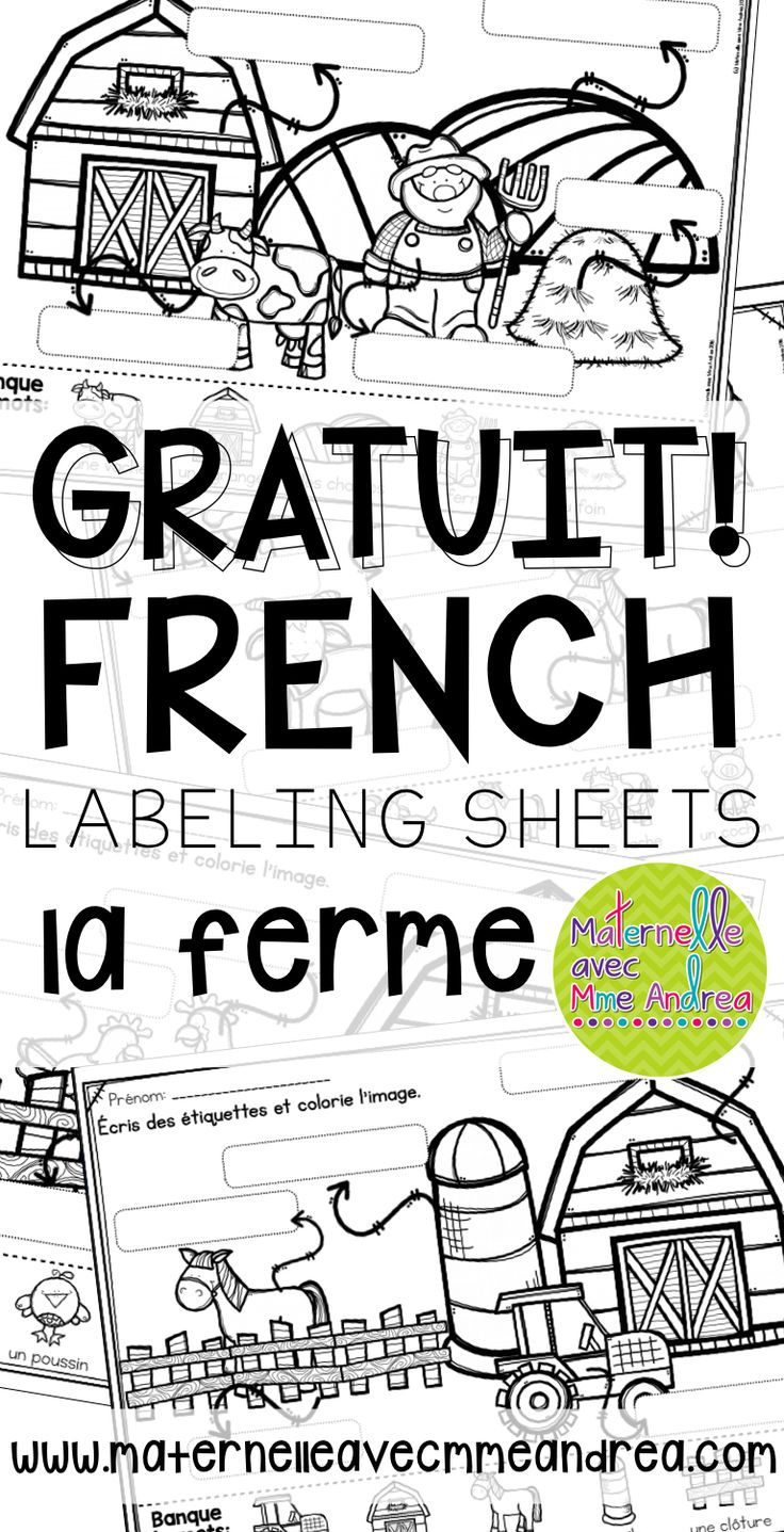 FREE French Farm labelling sheets for your writing centre!
