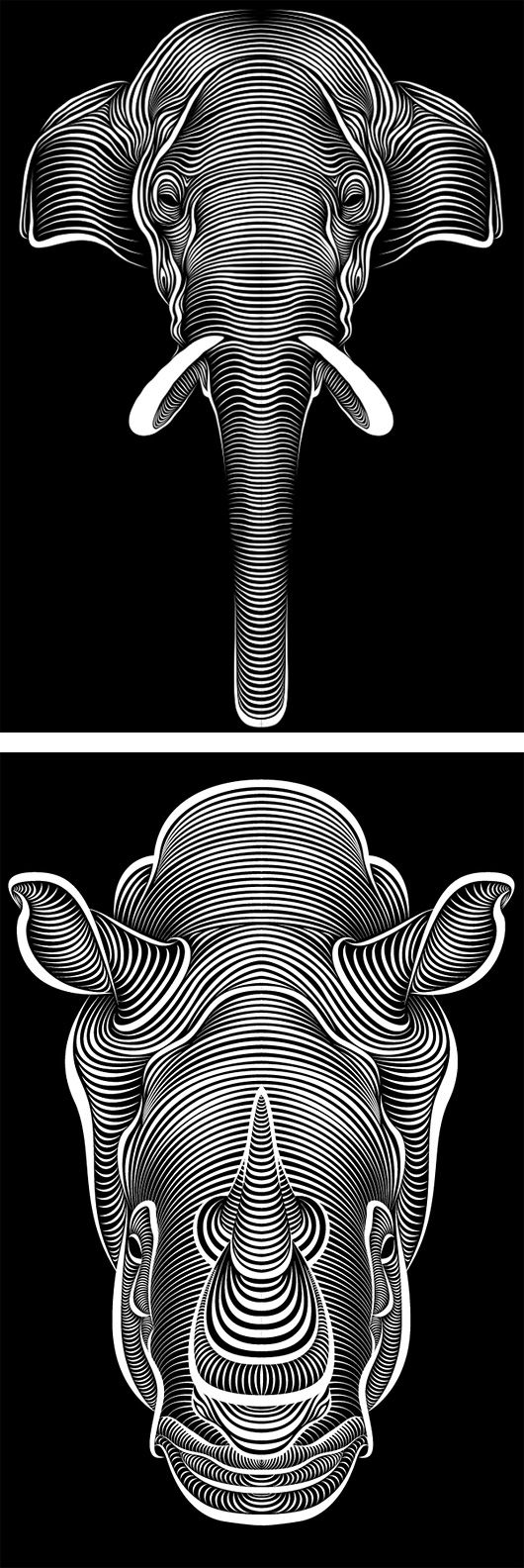 Line-Art Illustrations by Patrick Seymour | Inspiration Grid | Design Inspiration  //   Eléphant / Rhinocéros