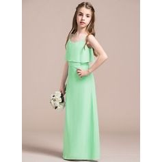 A-Line/Princess Scoop Neck Floor-Length Chiffon Junior Bridesmaid Dress With Bow(s)
