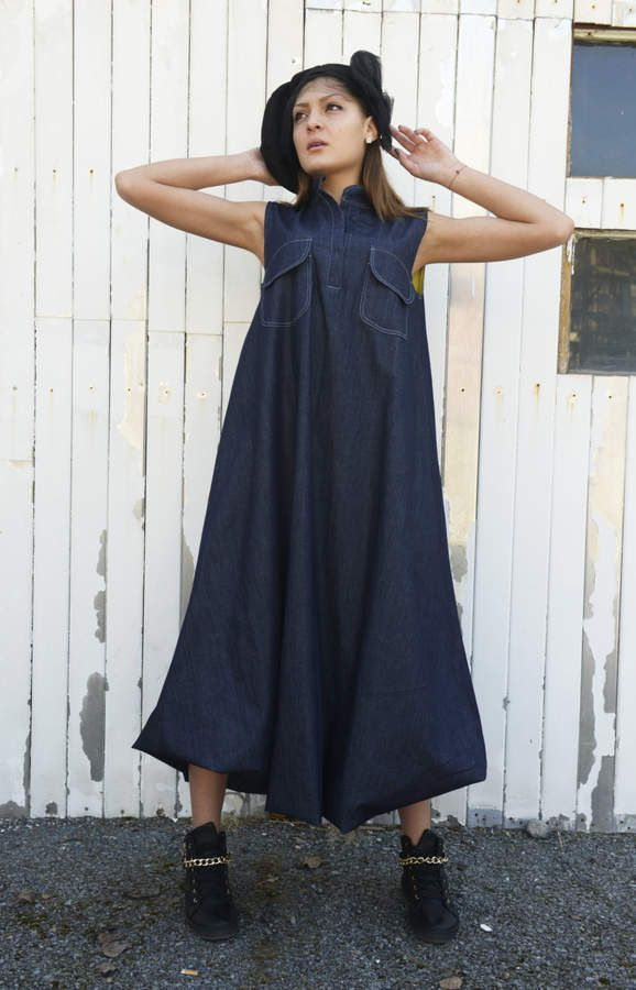 08e7962ec4 Etsy SALE Denim Long Dress   Sleeveless Blue Dress   Blue Jean Dress   Denim  Kaftan