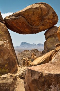 The Balanced Rock, geological weirdness in Big Bend National Park.
