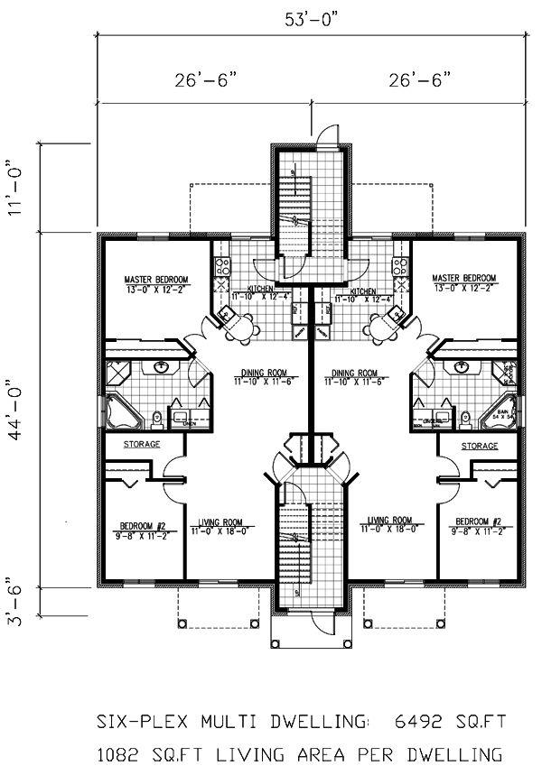 27 best 6 plex images on pinterest architectural design for 8 plex floor plans
