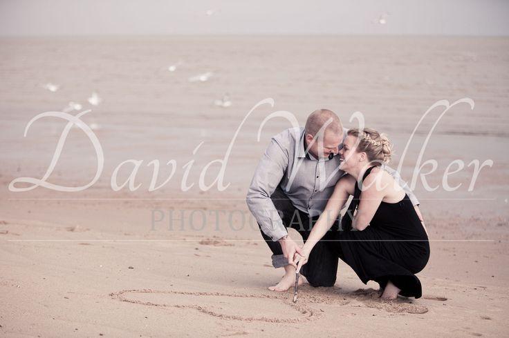 An engagement shoot on the beach. David Walker Photography
