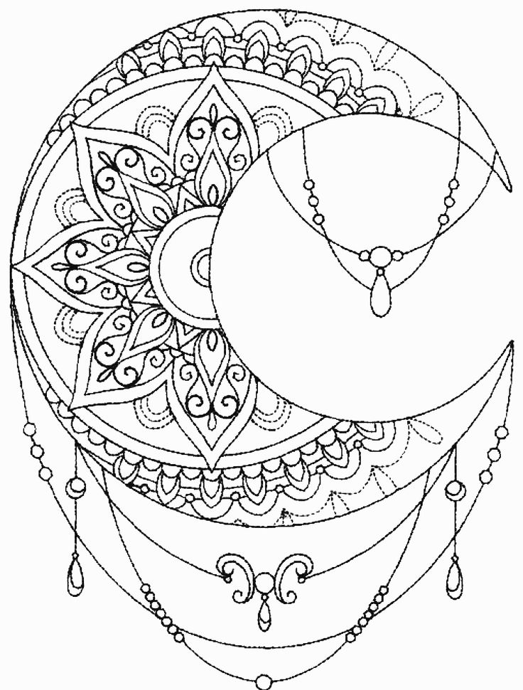 Tattoo full moon coloring pages for Full moon coloring pages