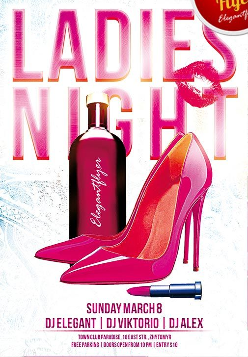 Ladies Night Free Club and Party PSD Flyer Template - http://freepsdflyer.com/ladies-night-free-club-and-party-psd-flyer-template/ Ladies Night Free Club and Party PSD Flyer Template! This PSD is set up in 1275×1875 dimension (4″ х 6″ with 0,25″ bleed). You can easily change texts, content, images, objects and color palette. The PSD file is very well organised, with color coded groups and layers named appropriately. #Bar, #Club, #Event, #Glamorous, #Ladies, #Loung