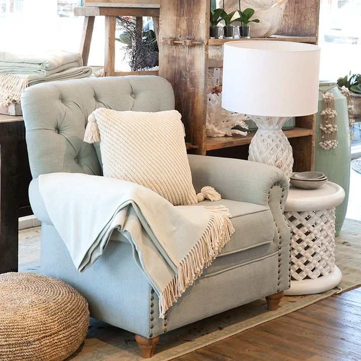 Light Blue Armchair With Cream Cushion