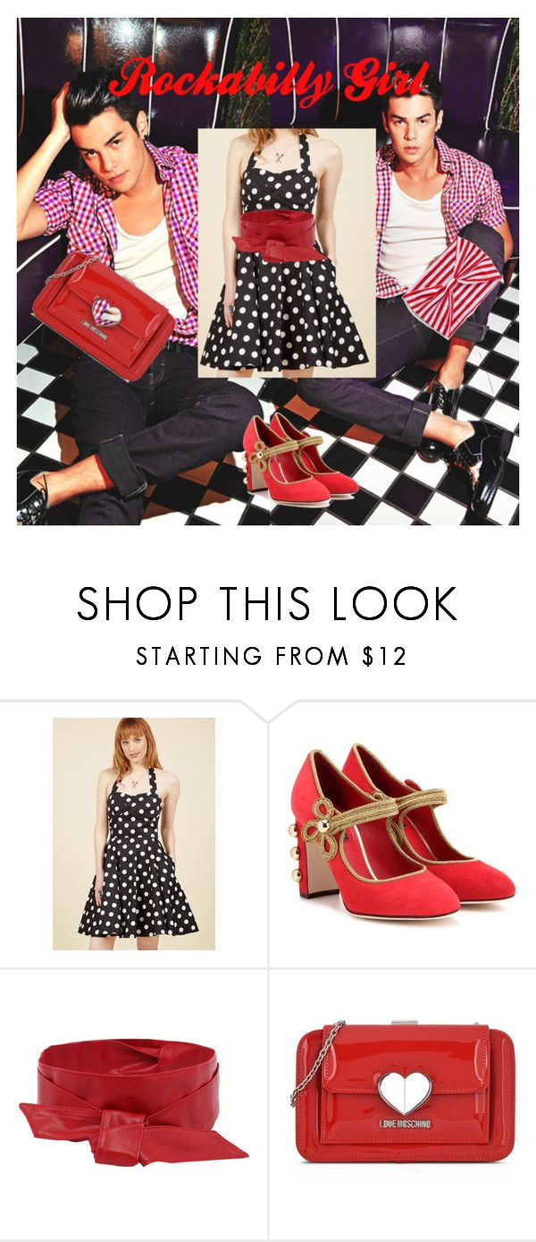 """""""Rockabilly Girl"""" by beatefeick on Polyvore featuring Mode, Dolce&Gabbana, Love Moschino, stripes, dolceandgabbana, Moschino und rockabilly"""