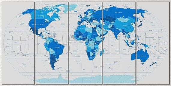 Political Abstract Blue World Map Diptych Triptych Multi Panel