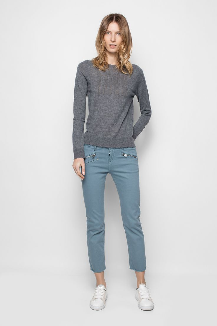 Zadig et Voltaire round-neck sweater, decorated with a rhinestone pattern on the front, 100% featherweight cashmere. Naturally warm and breathable, featherweight cashmere is lighter and more delicate than traditional cashmere. It has a finer knit, which makes for exceptional garments.