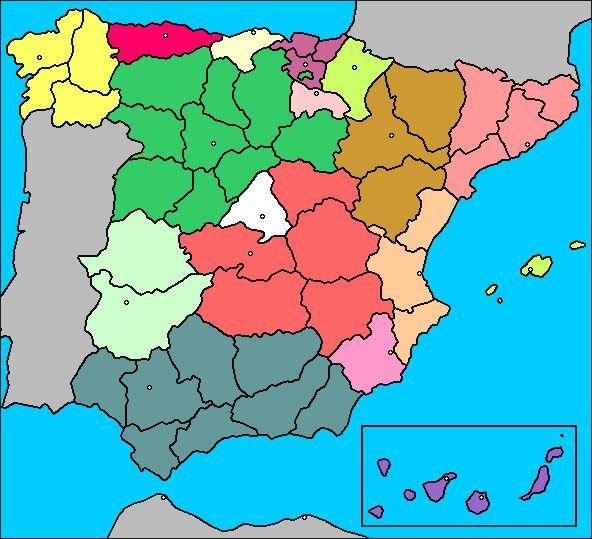 Mapa de España (comunidades autónomas, provincias)
