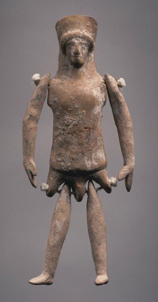 Greek Boeotian jointed doll, mid 5th century B.C. Terracotta, 12.5 cm high. Princeton University Art Museum