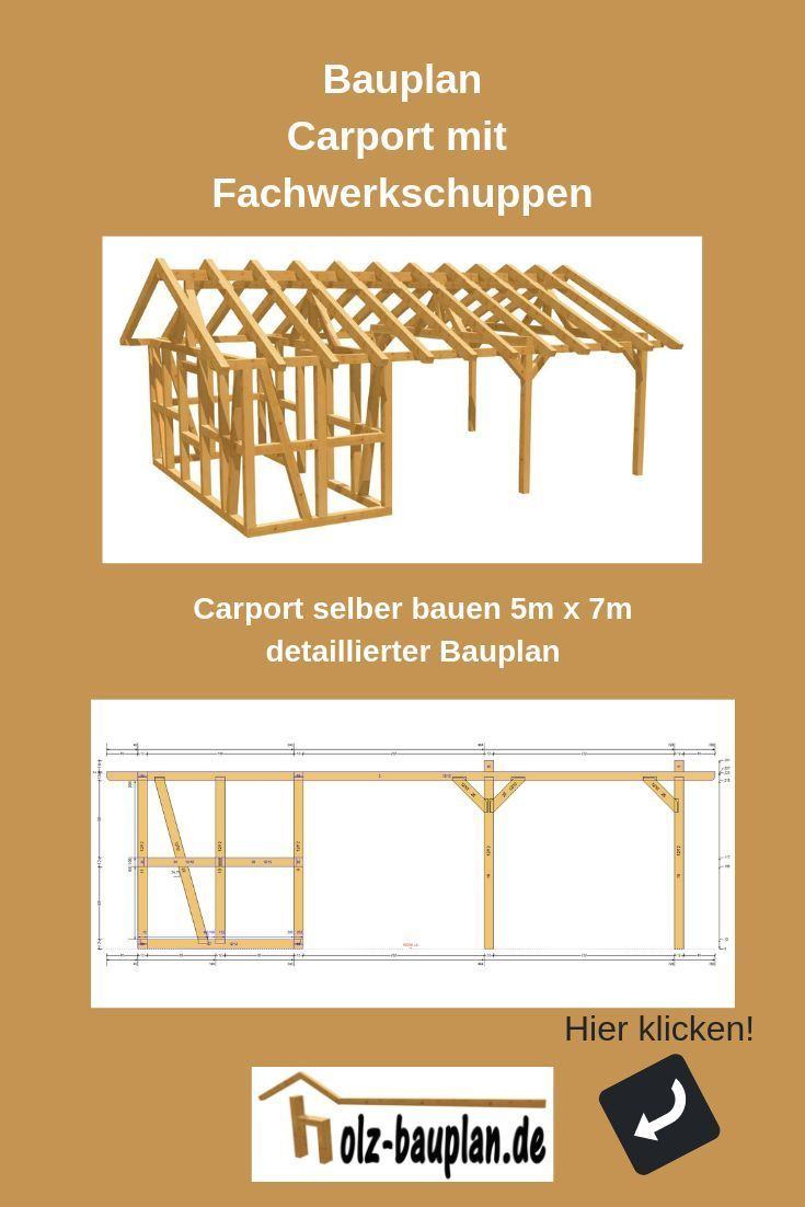 Detaillierter Bauplan Als Pdf Carport Zeichnung Technische Zeichnung Carport Carport Online Planen Carport Selber Bauen Carport Mit Schuppen