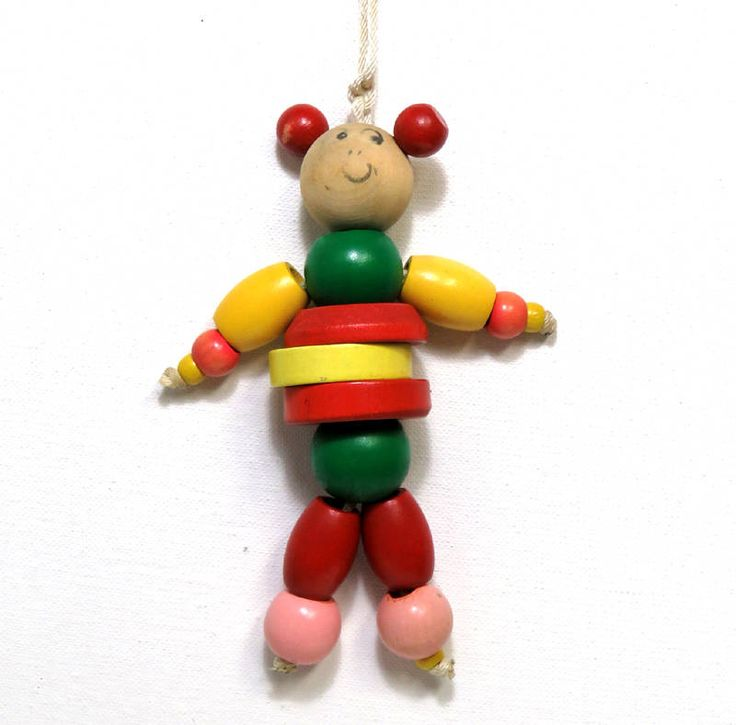 Vintage Baby Crib Toy/ Wooden Bead Mouse Doll by CurioCabinet on Etsy