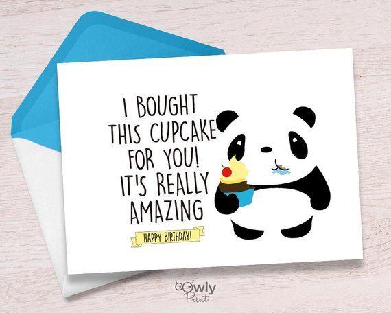 Printable Panda Happy Birthday Card Ready To Print Panda Happy Birthday Card Pdf Panda Happy Birt Happy Birthday Cards Sorry Cards Panda Birthday Invitations