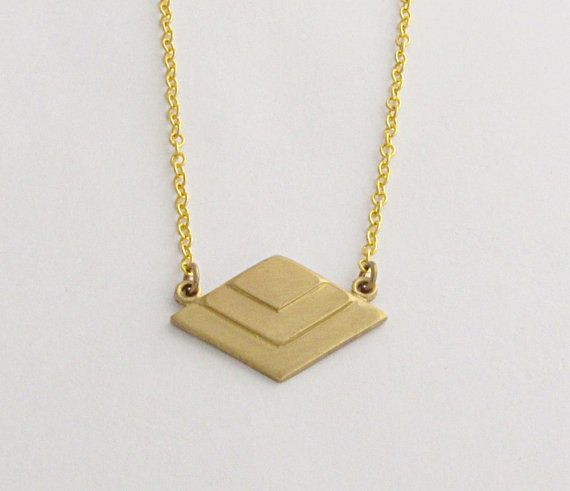 Chevron Necklace Geometric Necklace Gold by laurenblythedesigns