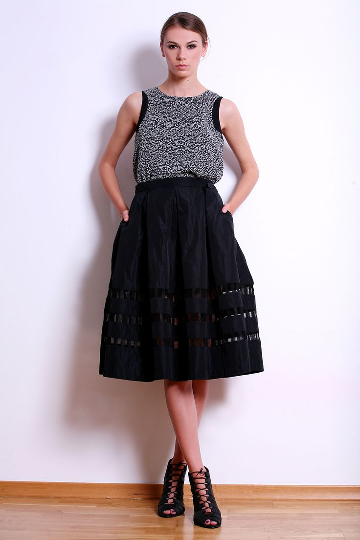 Black Taffeta Skirt with Transparent Insertions
