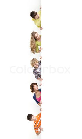 Image of 'Group of teenagers with a giant, blank, white billboard' on Colourbox