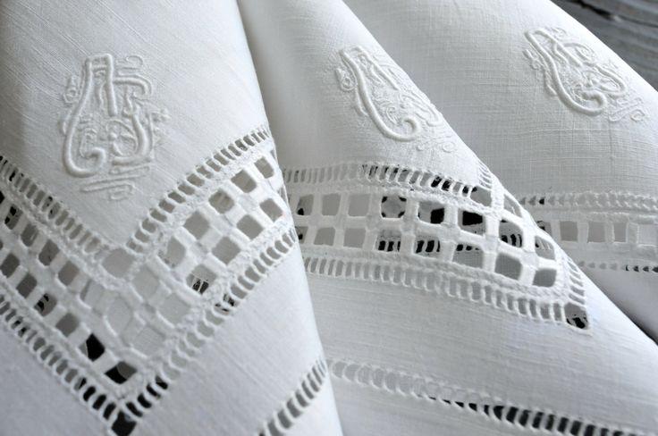 Antique Monogrammed Handkerchiefs, Vintahe White Drawn Work Hankies, Antique Open Work Handkerchiefs, Three pcs White Handkerchiefs by ColoursAndSoul on Etsy