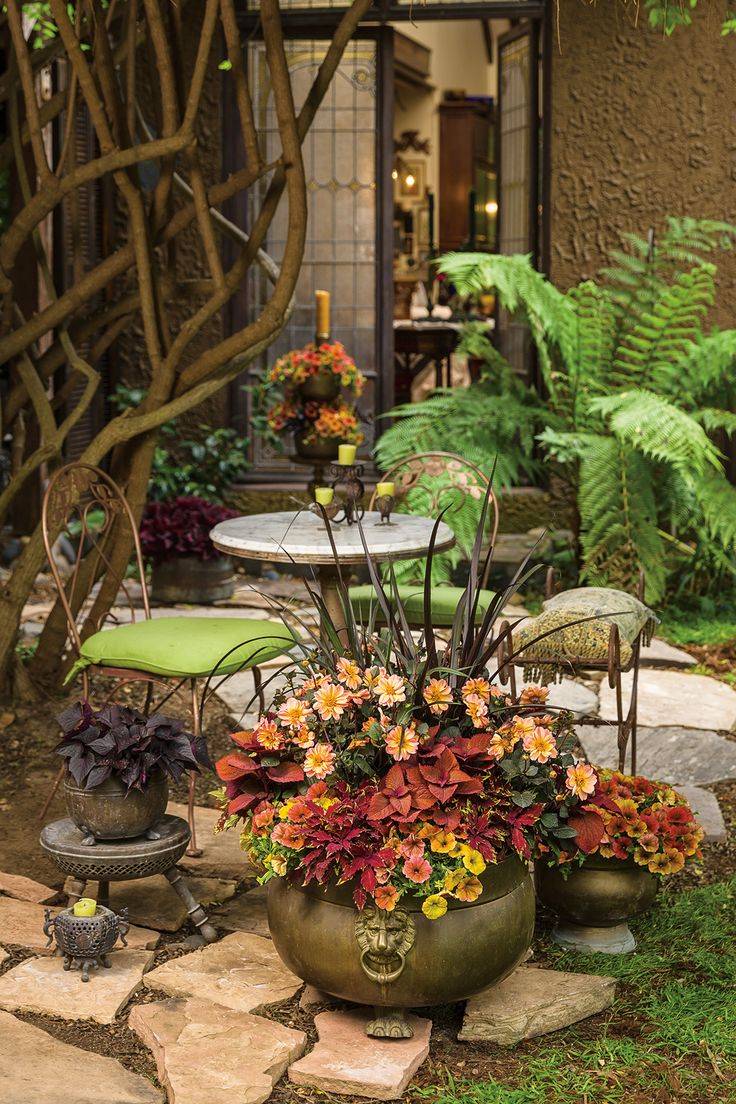 Even a small space can be enhanced by a variety of plants and repurposed furniture. Think beyond the original purpose of a piece, such as this large urn, now housing a richly toned collection of annuals.