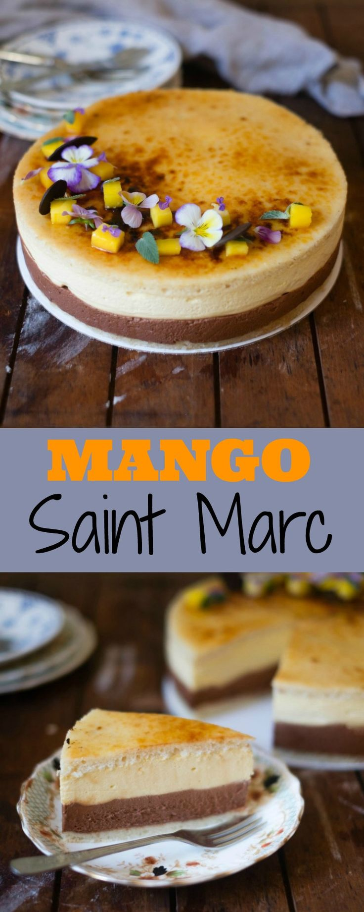 A Mango Saint Marc is a delicious layered dessert of mango bavaroise and chocolate mousse sandwiched between two slices of joconde.
