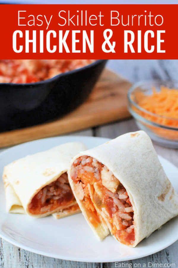 Skillet Chicken And Rice Burritos Burritos Recipe Burrito Recipe Chicken Chicken Burritos