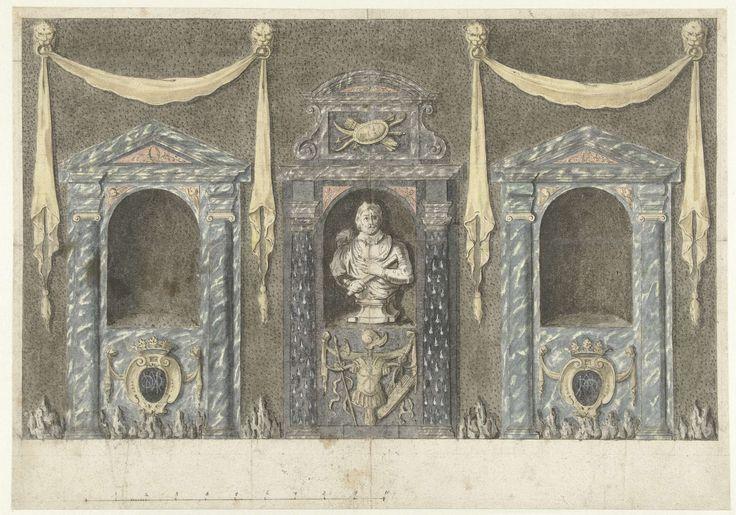 Ontwerp voor tuingevel met portieken en een borstbeeld, anonymous, 1640 - 1660