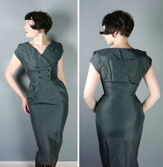 50s WIGGLE dress in dark greeny GREY colour - big collar and stunning HOURGLASS fit - Mid Century secretary chic autumn dress - S