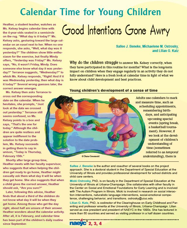 Calendar Time for Young Children: Good Intentions Gone Awry (interesting read, thought provoking!)