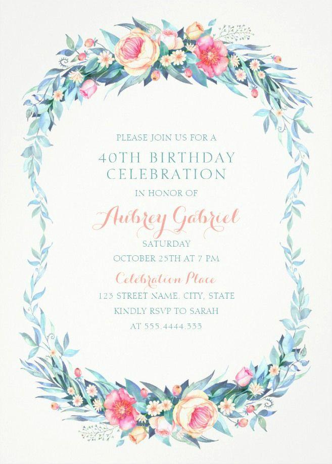Floral Adult 40th Birthday Invitations