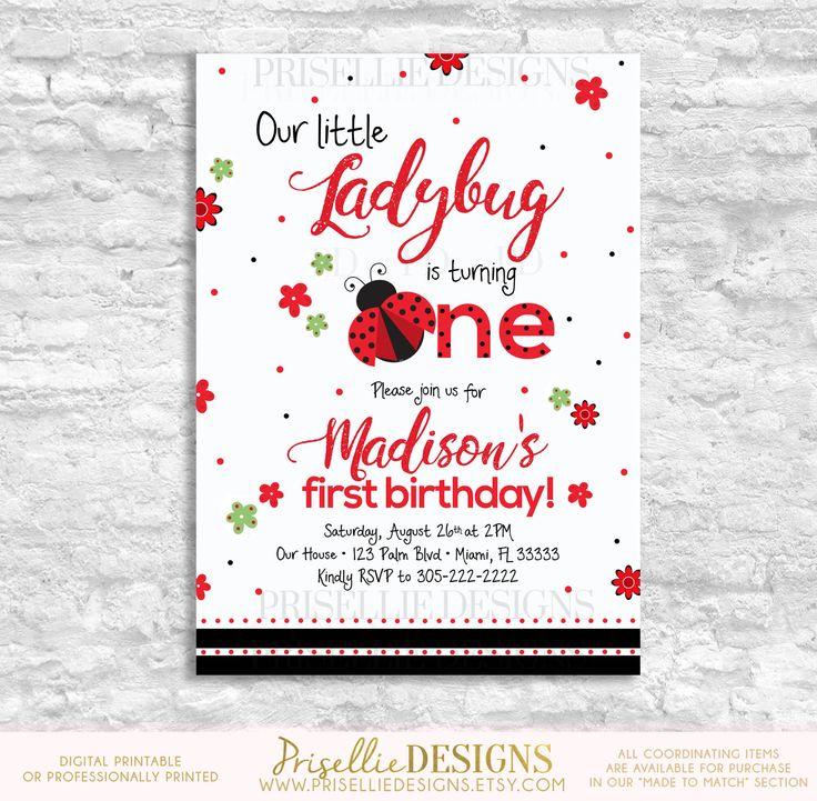 A personal favorite from my Etsy shop https://www.etsy.com/listing/528293524/ladybug-birthday-invitation-ladybug