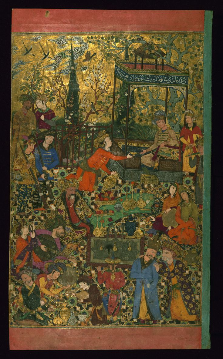 This painting shows courtiers of Shah 'Abbas I (r. 1588–1629), one of the great kings of the Persian Safavid dynasty (1501–1732). In 1598.