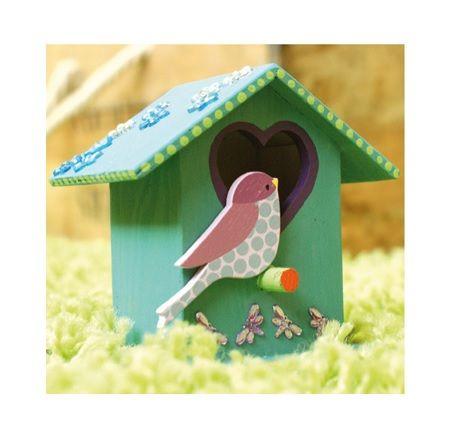 Dekorfigurer i trä, fåglar, 4-pack