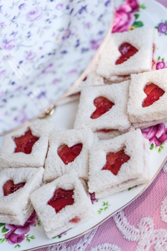 Jam Sandwiches with Heart Windows via Kara's Party Ideas | karaspartyideas.com - more at megacutie.co.uk